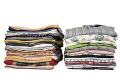 Stack of colored t-shirts and shirt Royalty Free Stock Images