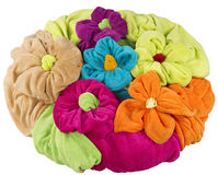 Stack of colored towel shape of a flower isolated on white Stock Image