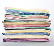 A stack of colored towels Royalty Free Stock Images