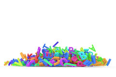 Stack of colorful alphabets letters from A to Z. For education or learning conceptual, isolated on white background, 3D rendered image Stock Photography