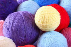 Stack of colorful balls of wool Stock Images