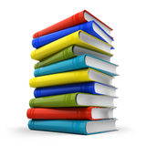 Stack of colorful books. On white background - 3d render Stock Photos