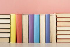 Stack of colorful books. Education background. Back to school. Copy space for text. Stock Photos