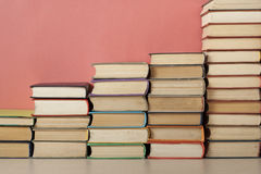 Stack of colorful books. Education background. Back to school. Copy space for text. Stock Photo