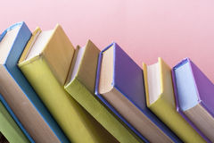 Stack of colorful books. Education background. Back to school. Copy space for text. Royalty Free Stock Photo