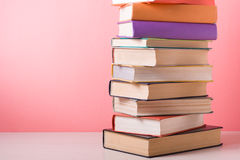 Stack of colorful books. Education background. Back to school. Copy space for text. Royalty Free Stock Image