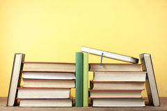 Stack of colorful books. Education background. Back to school. Copy space for text. Stock Images