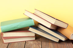 Stack of colorful books. Education background. Back to school. Copy space for text. Stock Image