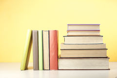 Stack of colorful books. Education background. Back to school. Copy space for text. Royalty Free Stock Photography