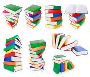 Stack of colorful books isolated on white Royalty Free Stock Images