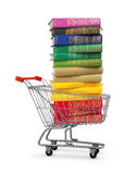 Stack of colorful books in shopping card Stock Image