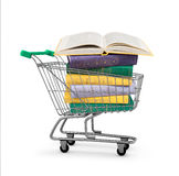 Stack of colorful books in shopping card Royalty Free Stock Photography