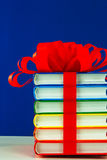 Stack of colorful books tied up with ribbon Royalty Free Stock Photography