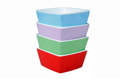 Stack of colorful bowls Stock Images