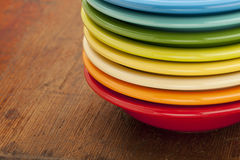 Stack of colorful bowls Stock Photo