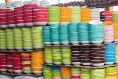 Stack colorful bowls. Stack colorful bowls at Lamphun, Thailand Royalty Free Stock Photos