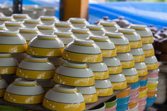 Stack colorful bowls. Stack colorful bowls at Lamphun, Thailand Royalty Free Stock Photo