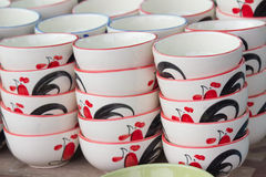 Stack colorful bowls. Stack colorful bowls at Lamphun, Thailand stock images