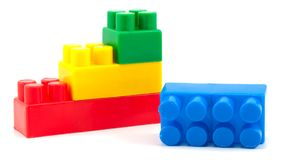 Stack of colorful building blocks - no trademarks Royalty Free Stock Photo