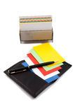 Stack of colorful cards in card holder Royalty Free Stock Photo