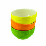 Stack colorful ceramic bowls Stock Photo
