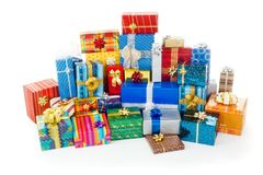 Stack of colorful Christmas presents. Big stack of colorful Christmas presents royalty free stock photos