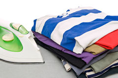 Stack of colorful clothes Stock Photos