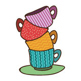 stack of colorful coffee cups Royalty Free Stock Photo