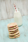Stack of Colorful Confetti Cookies With Milk Stock Images