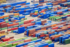 Stack of colorful containers in a port Royalty Free Stock Photography