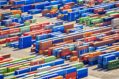 Stack of colorful containers in a port Royalty Free Stock Images