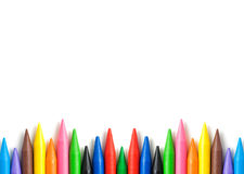 A stack of colorful crayons with copy space. Stock Images