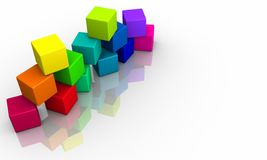 Stack of colorful cubes 2 Stock Photo