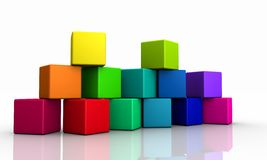Stack of colorful cubes Stock Photos