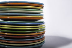 Stack of colorful dishes. A Stack of Fiesta colored dishes Royalty Free Stock Images