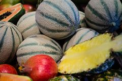 Fruits on a market royalty free stock image
