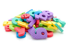 Stack of colorful foam letters Royalty Free Stock Images