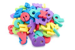 Stack of colorful foam letters Stock Photos