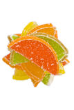 Stack of colorful fruit candies, top view stock image