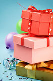 Stack of colorful gift boxes Stock Image