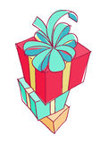 Stack of colorful gift boxes. Stock Image