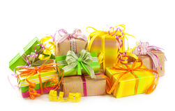 Stack of colorful gift boxes. Isolated on white background Royalty Free Stock Photos
