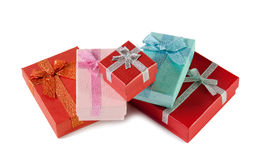 Stack of colorful gift boxes Isolated on white Royalty Free Stock Photo