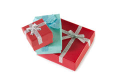 Stack of colorful gift boxes Isolated on white Stock Photos