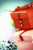 Stack of colorful gift boxes in retro style Stock Image