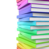 Stack of colorful glossy books. Stock Photo