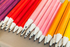 Stack of colorful graphite pencils, closeup photo Royalty Free Stock Photo
