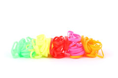 Stack colorful hair band. On white background Stock Photos