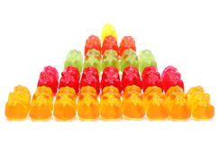 Stack of colorful haribo bear candies. White background Royalty Free Stock Photography