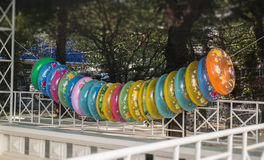 Stack of colorful inflatable swimming rings Stock Images